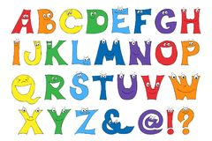 Children s letters in the cartoon. Set of multicolored bright letters for inscriptions. Vector illustration of an alphabet Royalty Free Stock Photo