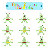 Children`s logical educational educational game. `Find 2 same image ofaliens Royalty Free Stock Photo