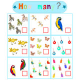 Children`s logical educational educational game. `How many Royalty Free Stock Photography