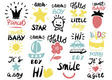 14 children s logo with handwriting Little boy, It s a girl, Hi, Princess, Smile, Sweet baby, Hello, Star. Kids background. Poster Emblem Royalty Free Stock Photography