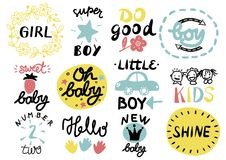 12 children s logo with handwriting Little, Girl, Boy, Hello, Oh baby, Shine, Sweet, Number two, Do good, New. Kids background Poster Emblem Icon Stock Photography