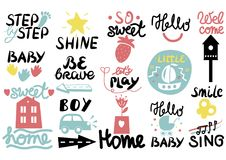 15 children s logo with handwriting Little, Hi, Step by, Smile, Hello baby, Sing, Shine, Welcome, Sweet home, Boy, Be. Brave Lets play Kids background Poster Stock Photo