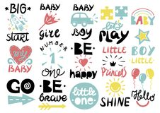 15 children s logo with handwriting Little one, Hello baby, Shine, Girl, Boy, Be brave, happy, GO, Big start, Lets play. Kids background Poster Emblem Icon Stock Photography