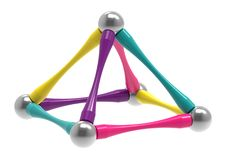 Children`s magnetic toy in the form of a piramid, 3D rendering. royalty free illustration