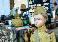 Children`s mannequin in military uniform of Soviet times stock images