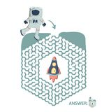 Children`s maze with astronaut and rocket. Puzzle game for kids, vector labyrinth illustration. Children`s maze with astronaut and rocket. Cute puzzle game for Stock Photos