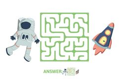 Children`s maze with astronaut and rocket. Puzzle game for kids, vector labyrinth illustration. Children`s maze with astronaut and rocket. Cute puzzle game for Royalty Free Stock Image