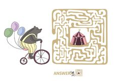 Children`s maze with bear on a bike and circus tent. Puzzle game for kids, vector labyrinth illustration. Children`s maze with bear on a bike and circus tent Stock Photography