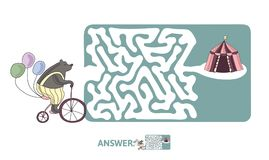 Children`s maze with bear on a bike and circus tent. Puzzle game for kids, vector labyrinth illustration. Children`s maze with bear on a bike and circus tent Royalty Free Stock Image
