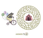 Children`s maze with bear on a bike and circus tent. Puzzle game for kids, vector labyrinth illustration. Children`s maze with bear on a bike and circus tent Royalty Free Stock Images
