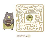Children`s maze with bear and honey. Puzzle game for kids, vector labyrinth illustration. Children`s maze with bear and honey. Cute puzzle game for kids, vector Stock Image