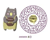 Children`s maze with bear and honey. Puzzle game for kids, vector labyrinth illustration. Children`s maze with bear and honey. Cute puzzle game for kids, vector Royalty Free Stock Images