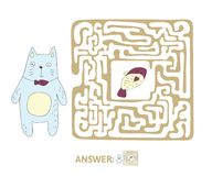 Children`s maze with cat and fish. Puzzle game for kids, vector labyrinth illustration. Children`s maze with cat and fish. Cute puzzle game for kids, vector Stock Photos