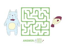 Children`s maze with cat and fish. Puzzle game for kids,. Children`s maze with cat and fish. Cute puzzle game for kids, vector labyrinth illustration Royalty Free Stock Images