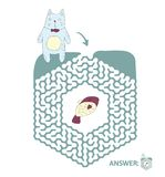 Children`s maze with cat and fish. Puzzle game for kids, vector labyrinth illustration. Children`s maze with cat and fish. Cute puzzle game for kids, vector Royalty Free Stock Photos