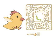 Children`s maze with chicken and worm. Puzzle game for kids, vector labyrinth illustration. Children`s maze with chicken and worm. Cute puzzle game for kids Stock Photography