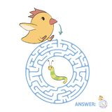 Children`s maze with chicken and worm. Puzzle game for kids, vector labyrinth illustration. Children`s maze with chicken and worm. Cute puzzle game for kids Royalty Free Stock Photos
