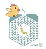 Children`s maze with chicken and worm. Puzzle game for kids, vector labyrinth illustration. Children`s maze with chicken and worm. Cute puzzle game for kids Royalty Free Stock Images
