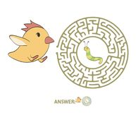 Children`s maze with chicken and worm. Puzzle game for kids, vector labyrinth illustration. Children`s maze with chicken and worm. Cute puzzle game for kids Royalty Free Stock Photo