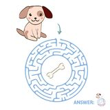 Children`s maze with dog and bone. Puzzle game for kids, vector labyrinth illustration. Children`s maze with dog and bone. Cute puzzle game for kids, vector Stock Illustration