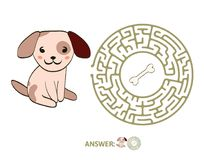 Children`s maze with dog and bone. Puzzle game for kids, vector labyrinth illustration. Children`s maze with dog and bone. Cute puzzle game for kids, vector Royalty Free Stock Photography