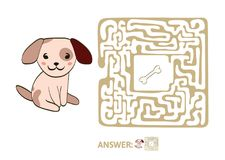 Children`s maze with dog and bone. Puzzle game for kids, vector labyrinth illustration. Children`s maze with dog and bone. Cute puzzle game for kids, vector Stock Photo