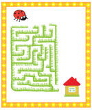 Children's maze game. Find the way to the house ladybug stock illustration