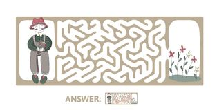 Children`s maze with gardener and flowers. Puzzle game for kids, vector labyrinth illustration. Children`s maze with gardener and flowers. Cute puzzle game for Stock Photography