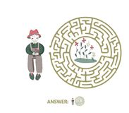 Children`s maze with gardener and flowers. Puzzle game for kids, vector labyrinth illustration. Children`s maze with gardener and flowers. Cute puzzle game for Royalty Free Stock Photos