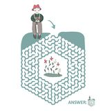 Children`s maze with gardener and flowers. Puzzle game for kids, vector labyrinth illustration. Children`s maze with gardener and flowers. Cute puzzle game for Royalty Free Stock Photo