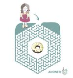 Children`s maze with girl and donut. Puzzle game for kids, vector labyrinth illustration. Children`s maze with girl and donut. Cute puzzle game for kids, vector Stock Photos