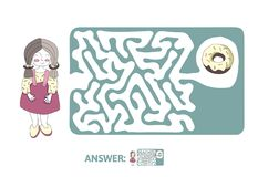 Children`s maze with girl and donut. Puzzle game for kids, vector labyrinth illustration. Children`s maze with girl and donut. Cute puzzle game for kids, vector Royalty Free Stock Photography