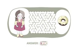 Children`s maze with girl and donut. Puzzle game for kids, vector labyrinth illustration. Children`s maze with girl and donut. Cute puzzle game for kids, vector Stock Photography