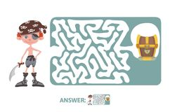 Children`s maze with pirate and treasure. Puzzle game for kids, vector labyrinth illustration. Children`s maze with pirate and treasure. Cute puzzle game for Stock Image