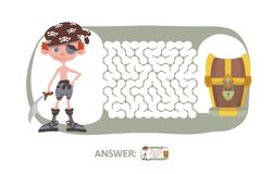 Children`s maze with pirate and treasure. Puzzle game for kids, vector labyrinth illustration. Children`s maze with pirate and treasure. Cute puzzle game for Royalty Free Stock Image