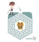Children`s maze with pirate and treasure. Puzzle game for kids, vector labyrinth illustration. Children`s maze with pirate and treasure. Cute puzzle game for Stock Images