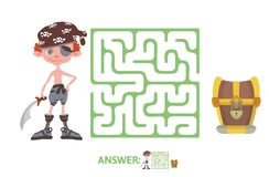 Children`s maze with pirate and treasure. Puzzle game for kids, vector labyrinth illustration. Children`s maze with pirate and treasure. Cute puzzle game for Royalty Free Stock Photography