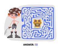 Children`s maze. Pirate treasure map. Puzzle game for kids, vector illustration. Stock Photo
