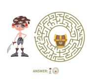 Children`s maze with pirate and treasure. Puzzle game for kids, vector labyrinth illustration. Children`s maze with pirate and treasure. Cute puzzle game for Stock Photography