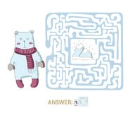 Children`s maze with polar bear and the North pole. Puzzle game for kids, vector labyrinth illustration. Children`s maze with polar bear and the North pole Royalty Free Stock Images
