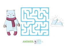 Children`s maze with polar bear and the North pole. Puzzle game for kids, vector labyrinth illustration. Children`s maze with polar bear and the North pole Stock Photo