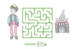 Children`s maze with Prince and fairytale castle. Puzzle game for kids, vector labyrinth illustration. Children`s maze with Prince and fairytale castle. Cute Royalty Free Stock Images