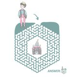 Children`s maze with Prince and fairytale castle. Puzzle game for kids, vector labyrinth illustration. Children`s maze with Prince and fairytale castle. Cute Stock Images