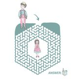 Children`s maze with Prince and Princess. Puzzle game for kids, vector labyrinth illustration. Children`s maze with Prince and Princess. Cute puzzle game for Stock Images