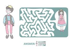 Children`s maze with Prince and Princess. Puzzle game for kids, vector labyrinth illustration. Children`s maze with Prince and Princess. Cute puzzle game for Stock Image