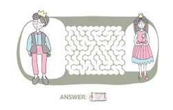 Children`s maze with Prince and Princess. Puzzle game for kids, vector labyrinth illustration. Children`s maze with Prince and Princess. Cute puzzle game for Royalty Free Stock Photo