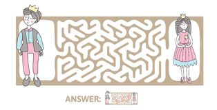 Children`s maze with Prince and Princess. Puzzle game for kids, vector labyrinth illustration. Children`s maze with Prince and Princess. Cute puzzle game for Royalty Free Stock Photography