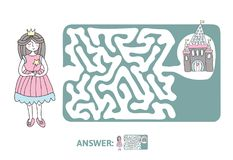 Children`s maze with Princess and fairytale castle. Puzzle game for kids, vector labyrinth illustration. Children`s maze with Princess and fairytale castle Stock Images