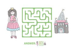 Children`s maze with Princess and fairytale castle. Puzzle game for kids, vector labyrinth illustration. Children`s maze with Princess and fairytale castle Royalty Free Stock Photos