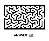 Children`s maze. Puzzle game for kids, vector labyrinth illustration. Black maze. Puzzle game for kids, vector labyrinth illustration Royalty Free Stock Photos